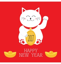 Happy New Year Lucky white cat sitting and holding vector image