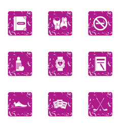 Heart care icons set grunge style vector