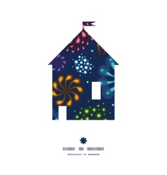 Holiday fireworks house silhouette pattern frame vector