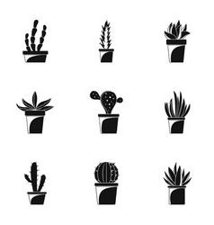 Home cactus pot icon set simple style vector