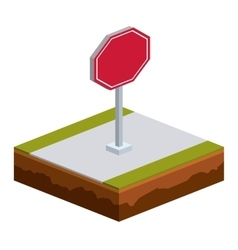 Isolated isometric red road sign design vector