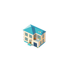 isometric facade beige house vector image