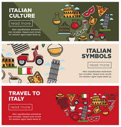 Italian culture and symbols on internet promo vector