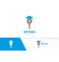 Key and graduate hat logo combination lock vector