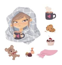 kid illness icons vector image