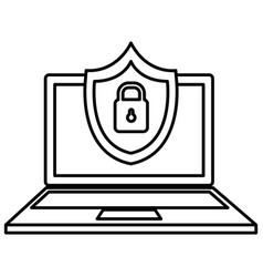 laptop computer with shield padlock vector image