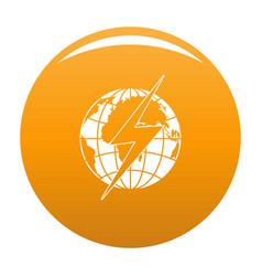 Lightning on earth icon orange vector