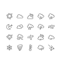 Line weather icons vector