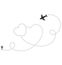 Love airplane route heart dotted route airline vector