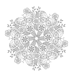 Mendie Mandala with butterflies on the meadow vector image