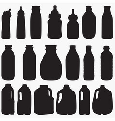 milk bottle silhouettes vector image