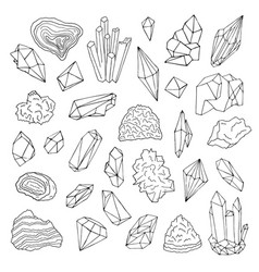 Minerals crystals gems isolated black and white vector