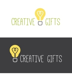 Minimalistic gifts store logotype vector