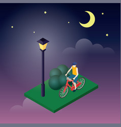 moonligt night in park male cyclist riding on a vector image