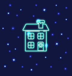 neon winter house icon in line style vector image