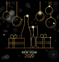 new year 2020 card gold line holiday decoration vector image