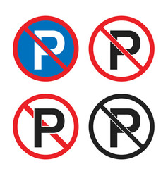 no parking road sign parking is prohibited icons vector image