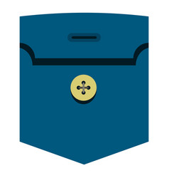 Pocket with button icon isolated vector