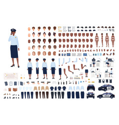 policewoman constructor set or diy kit bundle of vector image