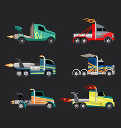 racing trucks set powerful futuristic cars with vector image