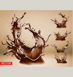 realistic chocolate splash bursts and crown vector image
