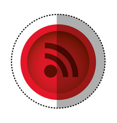 Red round symbol wifi connection icon vector