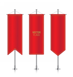Red vertical banner flags isolated vector image
