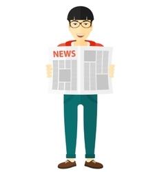 Reporter reading newspaper vector image