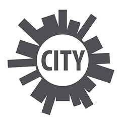 Round logo city of the planet vector