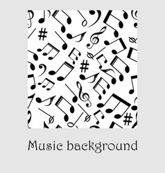 seamless music background with notes treble clef vector image