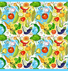 seamless pattern different vegetables ornament vector image