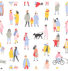 seasonal seamless pattern with tiny men women vector image