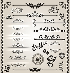 Set floral ornate design elements 7 vector image