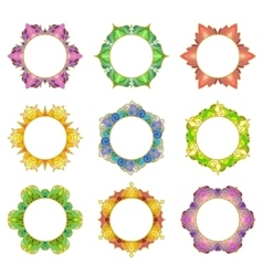 Set of 9 round frames vector