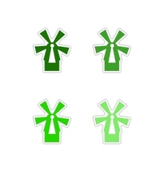 Set of paper stickers on white background mill vector