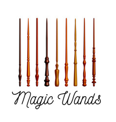 Set of wooden magic wands on white background vector