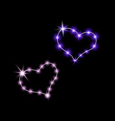 shining hearts neon sign retro neon sign heart vector image