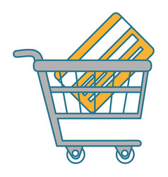 shopping cart with credit card vector image