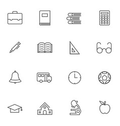 Simple education icon sets line icons vector