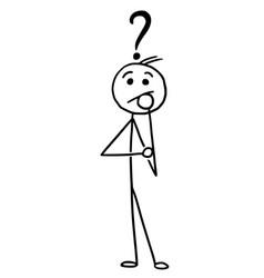 Stickman cartoon man standing with question mark vector