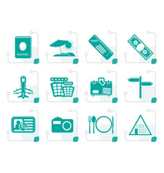 stylized simple travel and trip icons vector image