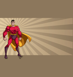 Superhero standing tall ray light background vector
