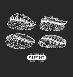 sushi nigiri hand drawn on chalk board japanese vector image
