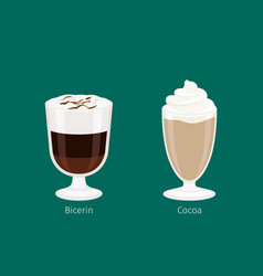 sweet invigorating drinks with caffeine and vector image