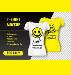 t-shirt mockup with smile and funny phrase in two vector image