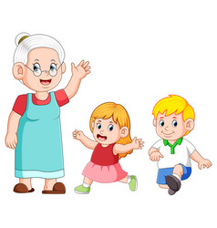 taking care and playing with her grandchild vector image