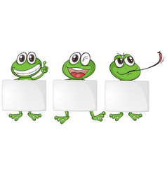 three frogs with blank papers vector image