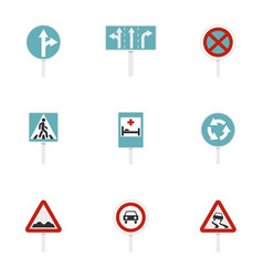 traffic sign icons set flat style vector image