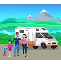 Travel van flat icon with long shadows vector image