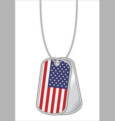 united states america flag on a steel dog tag vector image